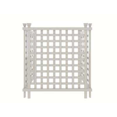 Liberty Lattice 3.5 ft. x 3 ft. White Vinyl AC Screen Fence Panel