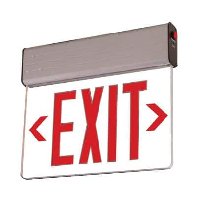 EU 25-Watt Silver Integrated LED Exit Sign in Red Letters on Clear Panel