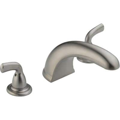 Foundations 2-Handle Deck-Mount Roman Tub Faucet Trim Kit Only in Stainless (Valve Not Included)