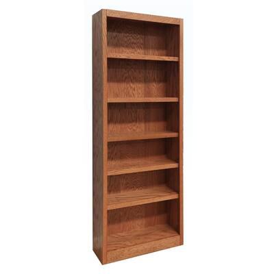 84 in. Dry Oak Wood 6-shelf Standard Bookcase with Adjustable Shelves