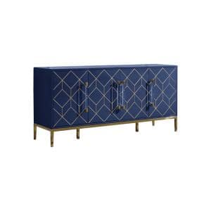 Aruna 65'' High Gloss with Gold Accent Modern Sideboard, Navy