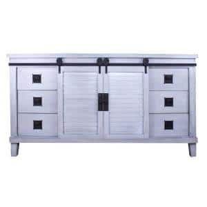 Shelly Distressed Light Grey Wood Cabinet with a Drawers and Doors