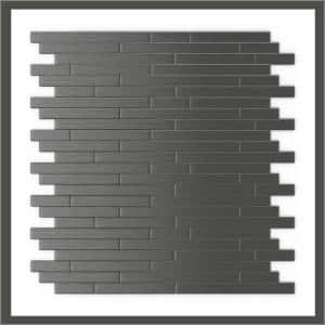 Take Home Sample Linox DG Dark Gray 4 in x 4 in Metal Peel and Stick Wall Mosaic Tile (0.11 sq.ft/Each)