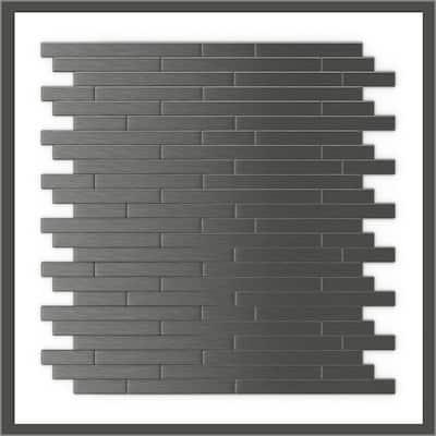 Take Home Sample Linox DG Dark Gray 4 in x 4 in Metal Peel and Stick Wall Mosaic Tile (0.11 sq.ft/Each)