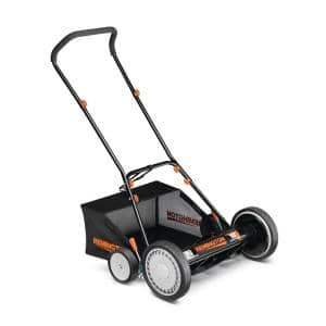 18 in. Manual Walk Behind Reel Lawn Mower with Attachable Bagger and 9 Position Cutting Heights