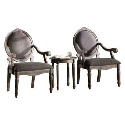 Winter Antique Grey 3-Piece Traditional Arm Chair with End Table Set