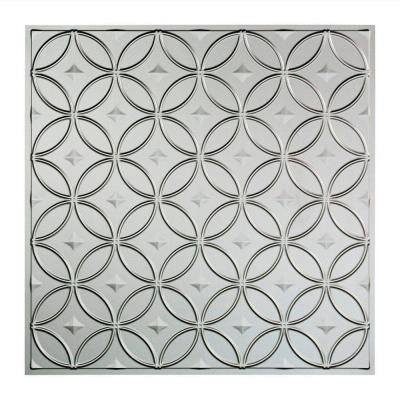 Rings 2 ft. x 2 ft. Argent Silver Lay-In Vinyl Ceiling Tile (20 sq. ft.)