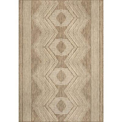 Ranya Tribal Indoor/Outdoor Light Brown 8 ft. x 10 ft. Area Rug