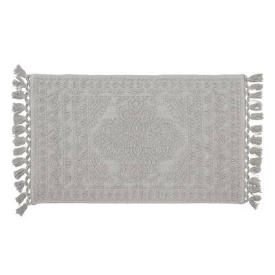 Nellore Medium Gray 17 in. x 24 in. Fringe Cotton Bath Rug