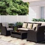 Atlantic Bradley 4-Piece Black Synthetic Wicker Patio Seating Set with Light Grey Cushions