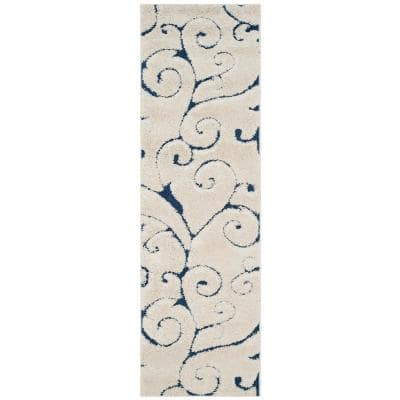 Florida Shag Cream/Blue 2 ft. x 19 ft. Floral Runner Rug