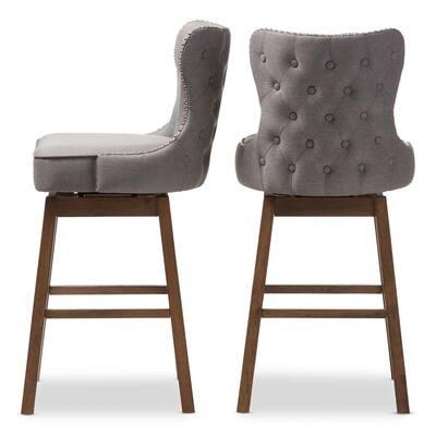 Gradisca 31 in. Gray Fabric Upholstered Swivel Bar Stool (Set of 2)