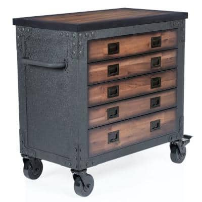 36 in. 5-Drawer Wood Top Roller Cabinet Tool Chest