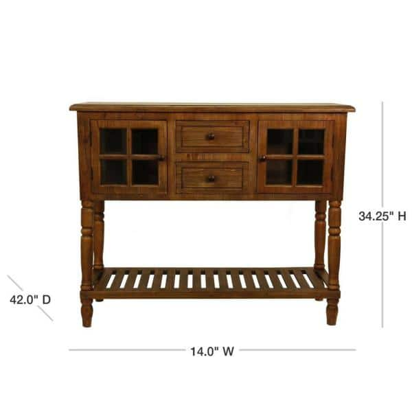 Decor Therapy Morgan 42 In Natural Wood Standard Rectangle Wood Console Table With Drawers Fr8441 The Home Depot