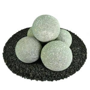 6 in. Set of 5 Ceramic Fire Balls in Pewter Gray Speckled