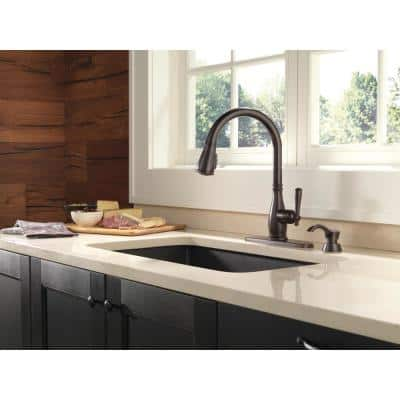 Charmaine Single-Handle Pull-Down Sprayer Kitchen Faucet with Soap Dispenser in Venetian Bronze