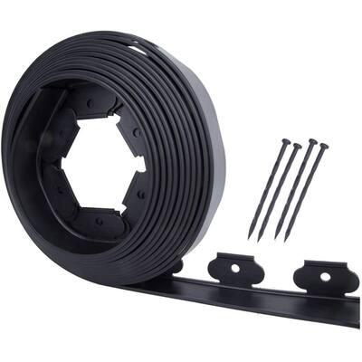 30 ft. Black Plastic No-Dig PE with Landscape Garden Edging Kit (6-Spikes)