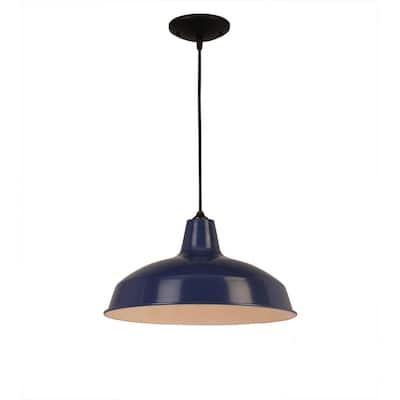 1-Light Dark Blue Warehouse Pendant with Metal Shade