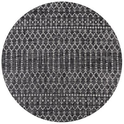 Ourika Black/Gray 5 ft. Moroccan Geometric Textured Weave Round Indoor/Outdoor Area Rug