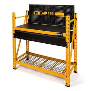 Yellow 2- Tier Heavy Duty Shop Workbench Industrial Steel Garage Storage Shelving Unit 50 in. W x 56 in. H x 18 in. D