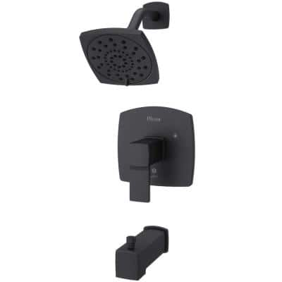 Deckard 1-Handle Tub and Shower Faucet Trim Kit in Matte Black (Valve Not Included)
