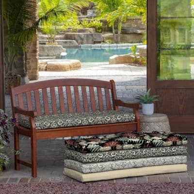Rectangle Outdoor Bench Cushion in Black Aurora Damask