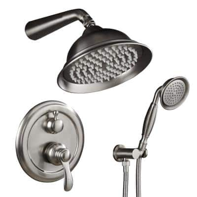 2-Handle 2-Spray of Rain Shower Faucet 8 in. Round Shower Head with Handheld Kit in Brushed Nickel (Valve Included)
