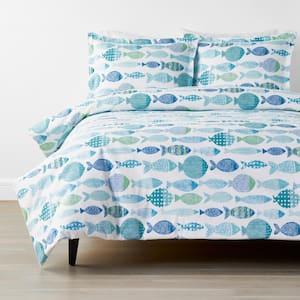 Company Cotton Fish Percale 3-Piece Multicolored Queen Duvet Cover Set