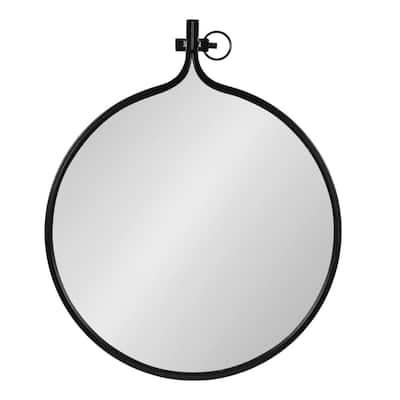 Medium Round Black Contemporary Mirror (28.5 in. H x 23.5 in. W)