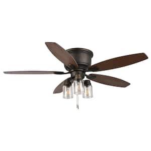 Stoneridge 52 in. LED Indoor/Outdoor Bronze Hugger Ceiling Fan with Light Kit