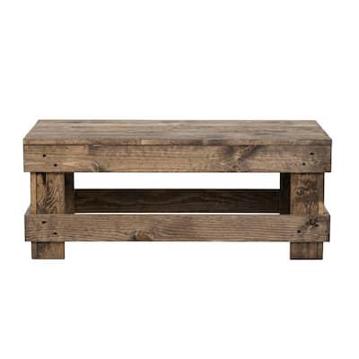 Landmark 39 in. Dark Walnut Medium Rectangle Wood Coffee Table