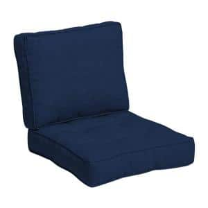 Plush BlowFill 24 in. x 24 in. 2-Piece Deep Seating Outdoor Lounge Chair Cushion in Sapphire Blue Leala