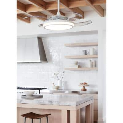 Evo1 White Retractable 4-blade 48 in. LED Ceiling Fan with Light and Remote Control