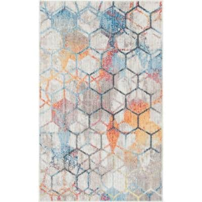 Unique Loom White 8 Ft X 11 Ft Rainbow Area Rug 3142574 The Home Depot