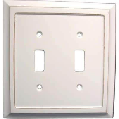 Savannah 2 Gang Toggle Wood Wall Plate - White