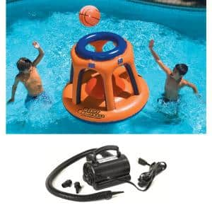 45 in. Basketball Hoop Shootball Inflatable Pool Toy and Electric Air Pump