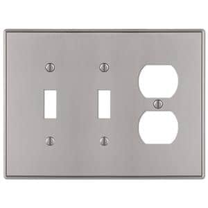 Ansley 3 Gang 2-Toggle and 1-Duplex Metal Wall Plate - Brushed Nickel