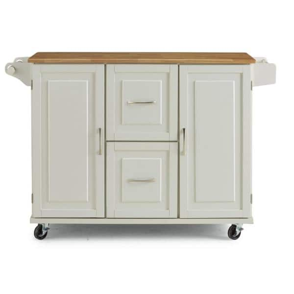Homestyles Dolly Madison White Kitchen Cart With Natural Wood Top 4516 95 The Home Depot