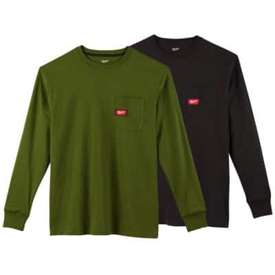 Men's Medium Olive Green and Black Heavy-Duty Cotton/Polyester Long-Sleeve Pocket T-Shirt (2-Pack)