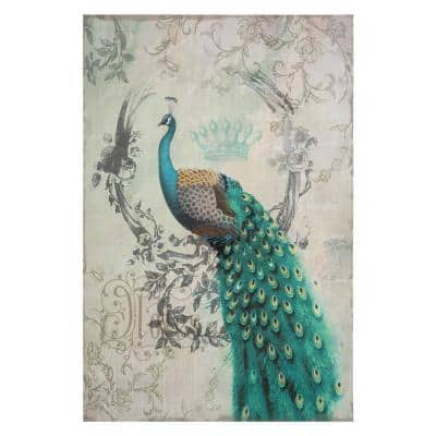 """35 in. x 24 in. """"Peacock Poise II"""" Printed Contemporary Artwork"""