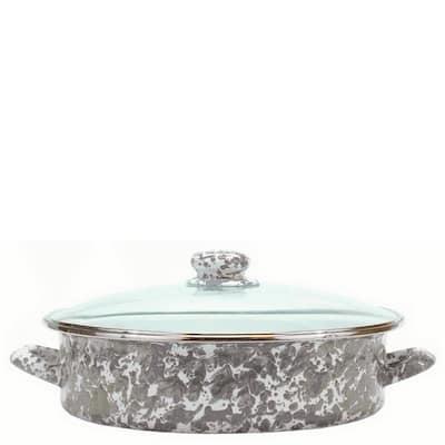 Enamelware 5 qt. Porcelain-Coated Steel Saute Pan in Grey Swirl with Glass Lid