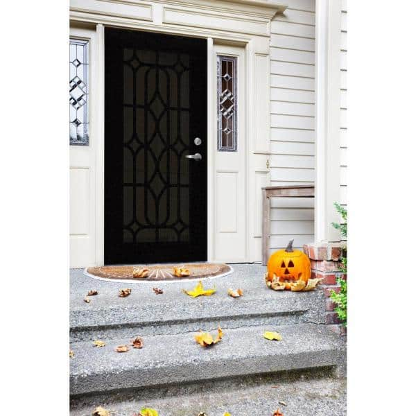 Unique Home Designs 30 In X 80 In Essex Black Left Hand Surface Mount Security Door With Black Perforated Metal Screen 1s1501cl1bkp5a The Home Depot