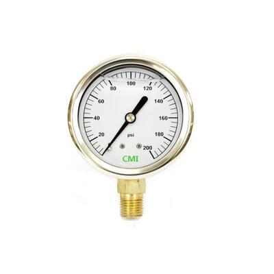 0 - 200 psi 2.5 in. Dial 1/4 in. Brass NPT Liquid Pressure Gauge (10-Pack)