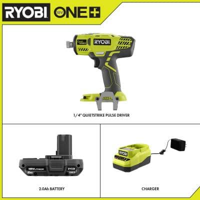 ONE+ 18V Cordless 1/4 in. Hex QuietSTRIKE Pulse Driver with Belt Clip, 2.0 Ah Battery, and Charger