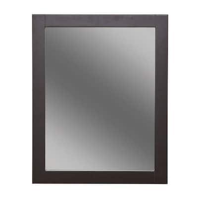 Del Mar 24 in. W x 30 in. H Framed Bathroom Vanity Mirror in Espresso