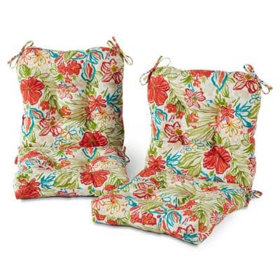 21 in. x 42 in. Outdoor Dining Chair Cushion in Breeze Floral (2-Pack)