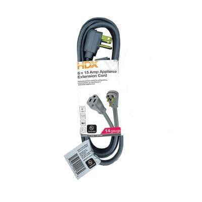6 ft. 15 Amp Grey Air Conditioner/Appliance Extension Cord