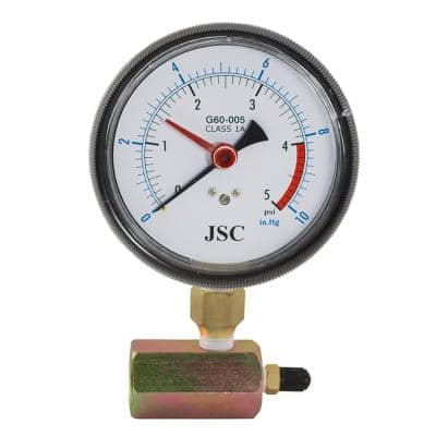 5 lb. Class 1A Gas Test Gauge Assembly with 4 in. Face and Pressure Snubber