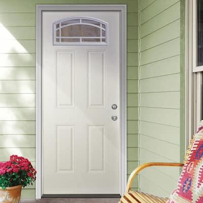 35-3/4 in. x 79 in. 11-Lite Cambertop White Primed Fiberglass Clear Front Door Slab