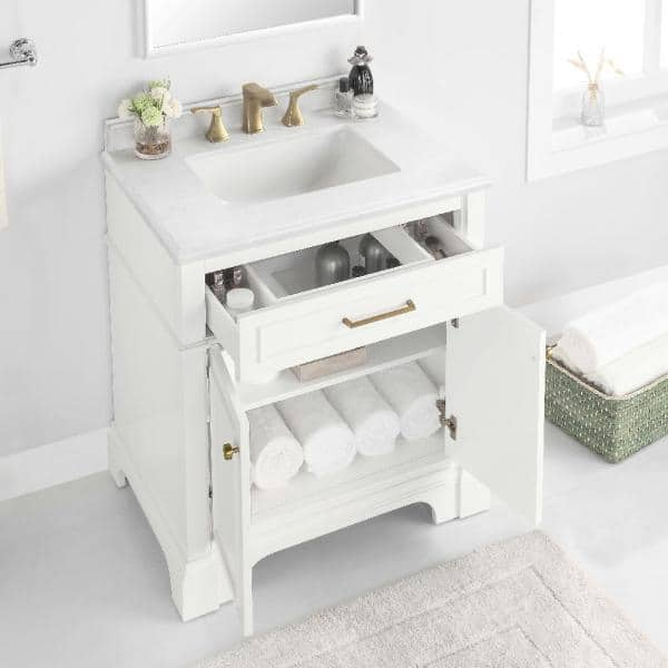 Home Decorators Collection Melpark 30 In W X 22 In D Bath Vanity In White With Cultured Marble Vanity Top In White With White Sink Melpark 30w The Home Depot